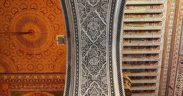 Deckenverzierung Bahia Palast in Marrakesch
