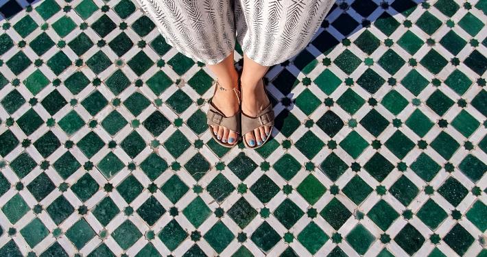 Mosaik Fußboden im Bahia Palast in Marrakesch