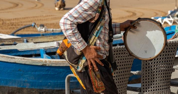 Straßenmusiker in Taghazout