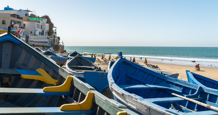 Blaue Fischerboote Taghazout