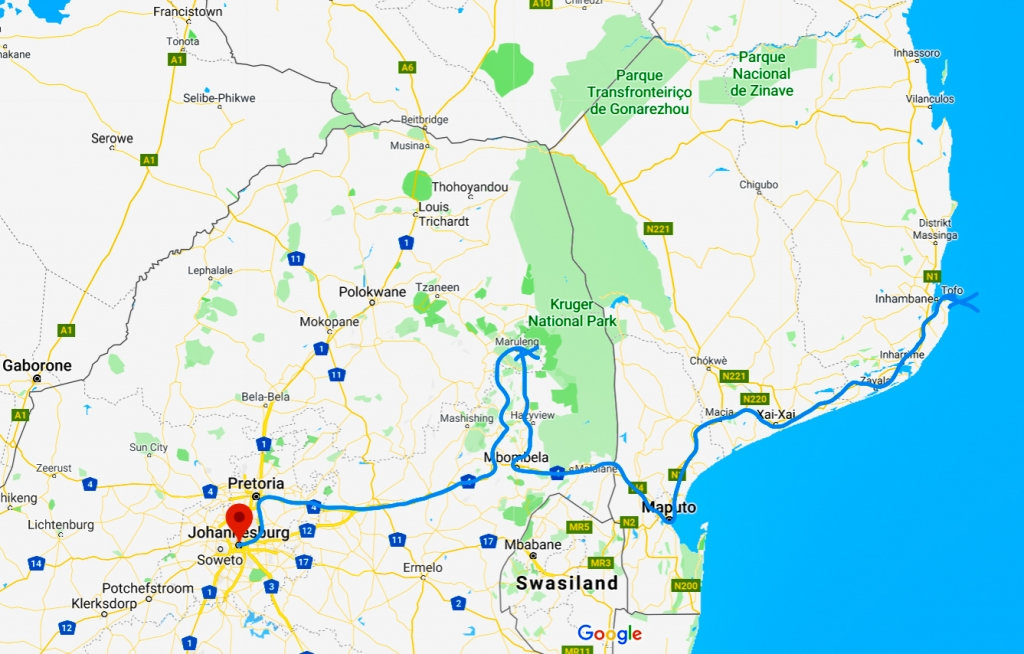 Reisekarte Südafrika Mosambik