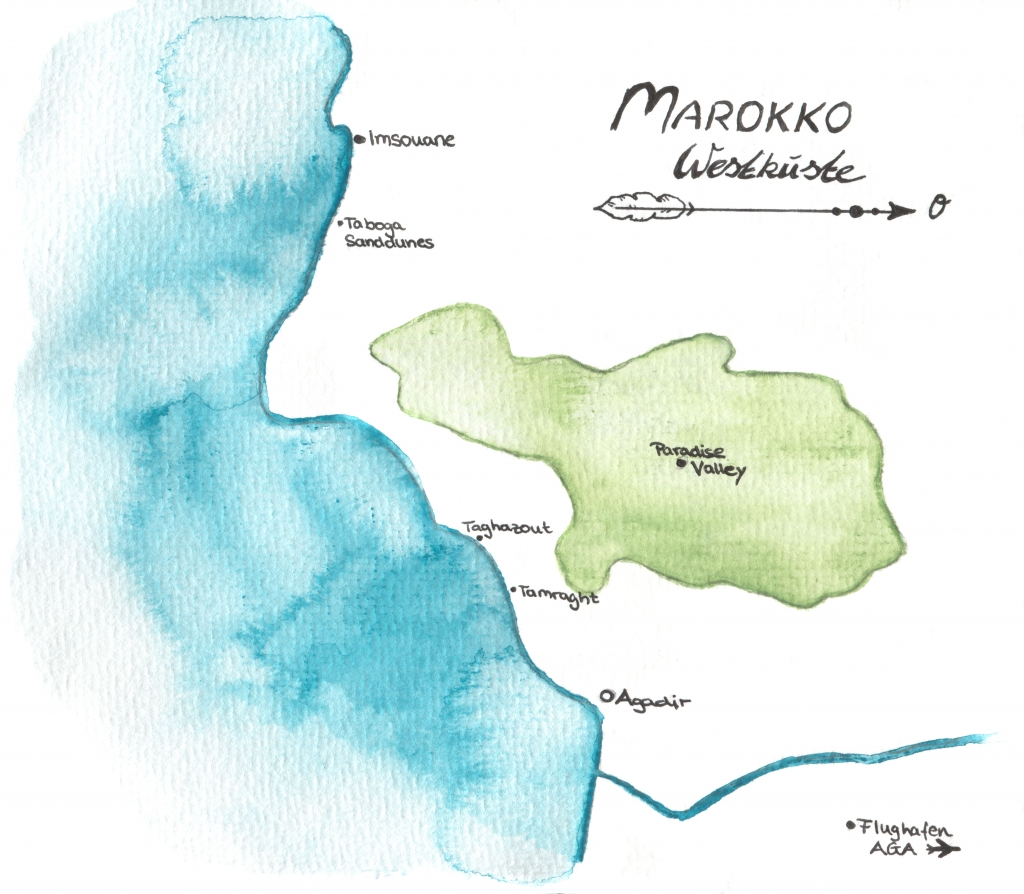 Westküste Marokko Karte