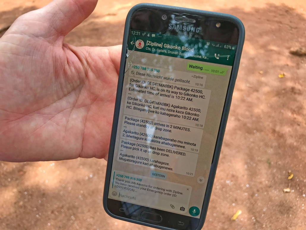 Drohnenbestellung per Handy in Ruanda