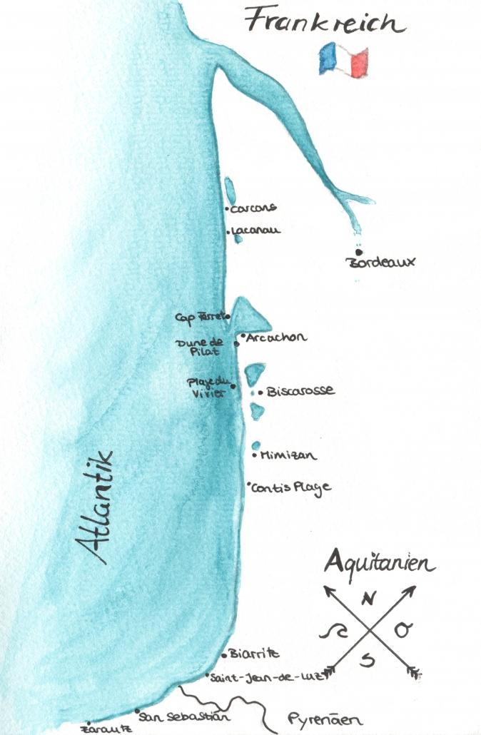 Karte Atlantikküste Frankreich